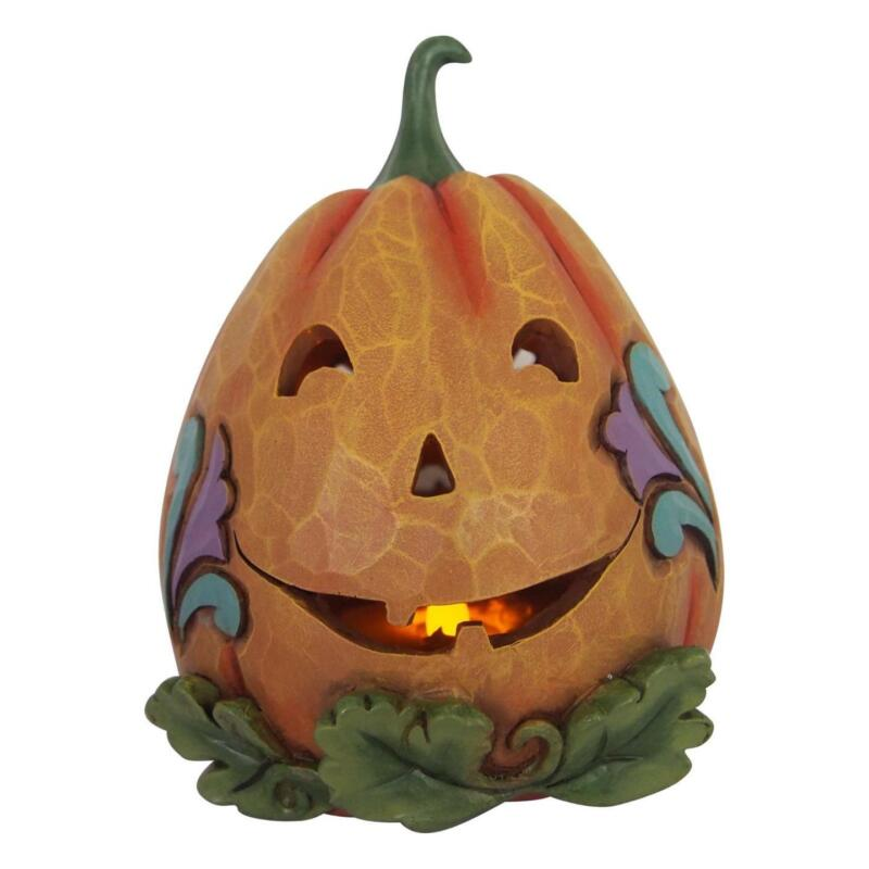 Jim Shore - Lit Jack O Lantern - Halloween Thanksgiving Pumpkin - Enesco 6001549