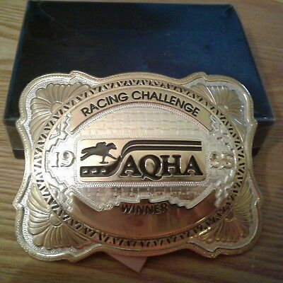 Used, vintage quarter horse racing challenge belt buckle Montana Silversmith winner for sale  Taylor