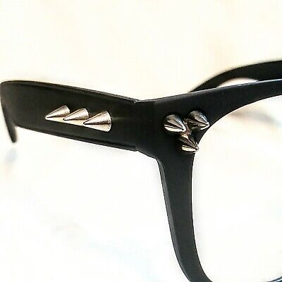 SPIKED EYEGLASSES Black Spikes STUDDED Retro Cool Matte glasses NWT NEW w (Cool Black Glasses)