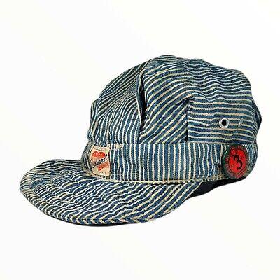 1950s Mens Hats | 50s Vintage Men's Hats Vintage 1950's Carhartt Chore Caps Hat Union Made Sanforized Blue White Striped $150.00 AT vintagedancer.com