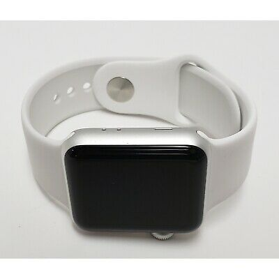 Apple iWatch A1858 Series 3 (38mm) Silver Aluminum Case, White Sport Band (A)