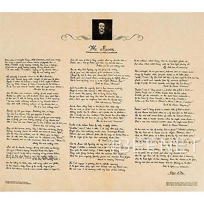 EDGAR ALLEN POE manuscript reproduction THE RAVEN rolled parchment poster NEW