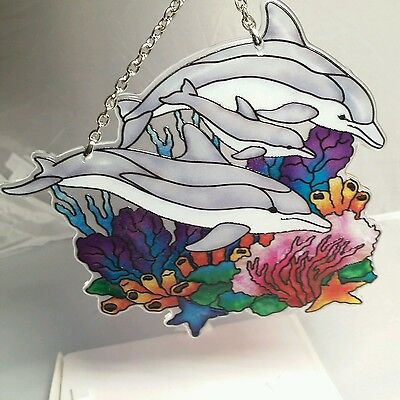 """joan baker hand painted stained glass  5.5x6.25""""  thick glass dolphin suncatcher"""