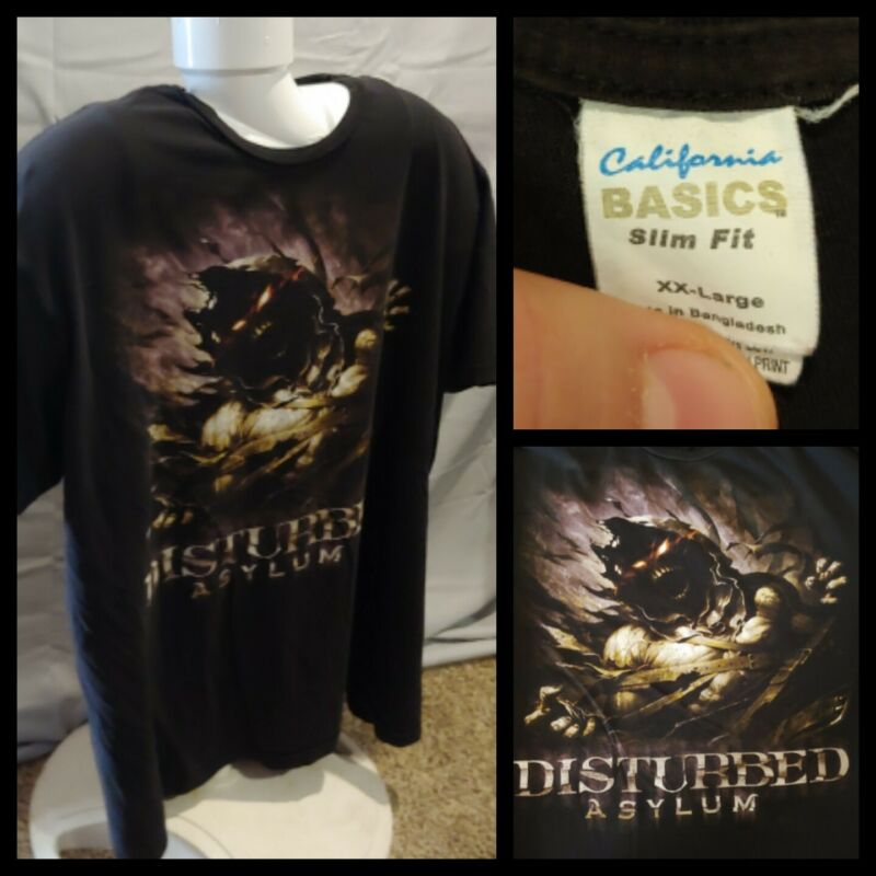 Mens Hot Topic Disturbed Asylum California Basics Slim Fit Black T-Shirt Sz 2XL