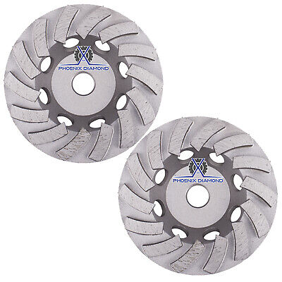 2pck 5double Turbo Diamond Grinding Cup Wheel For Concrete 18 Seg-58-11thread