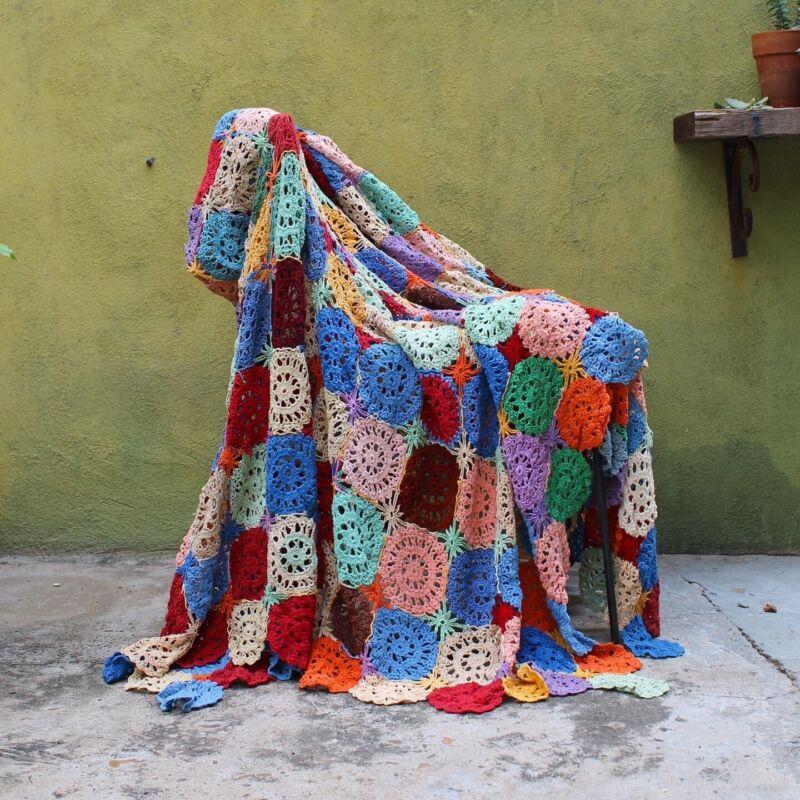 "Antique Handmade Hand Crochet Quilted Patchwork Quilt Blanket Throw 103"" x 62""2"