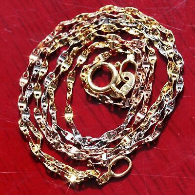 "10k multi tone gold gucci link necklace 16.0"" diamond cut chain vintage 1.0gr"
