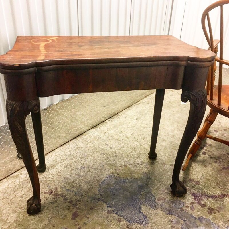 Antique 1730's George II Chippendale Card Table With Original Moroccan  Silk