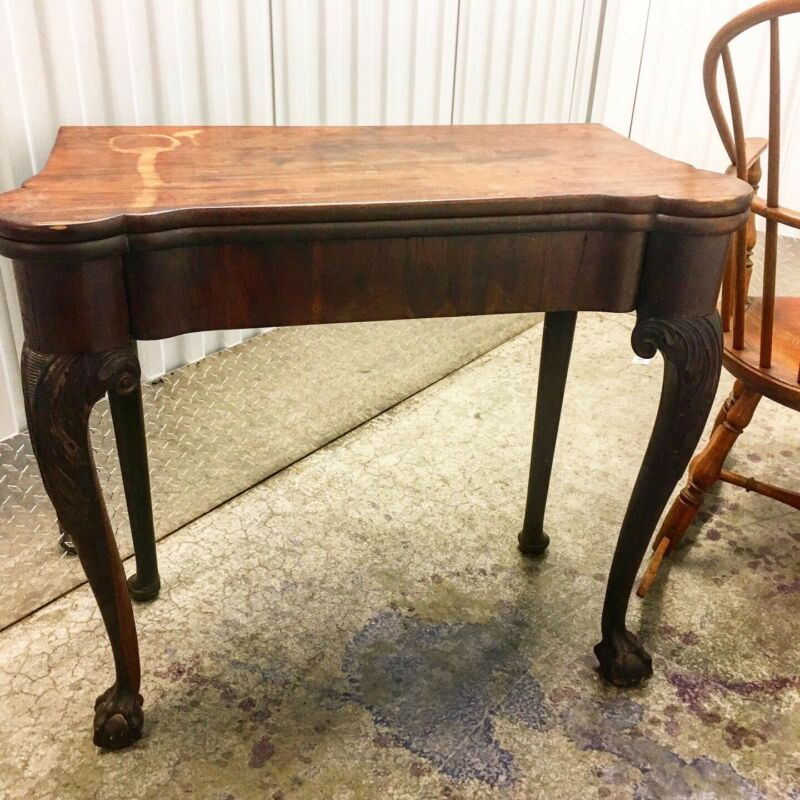 Antique 1730's George II Chippendale Card Table With Original Damask Lining