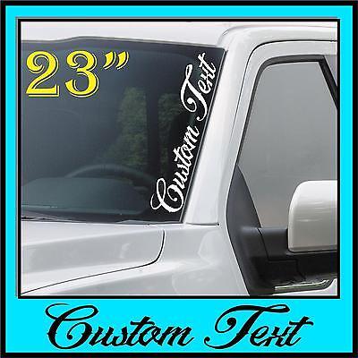Left Side Banner - Custom Text Windshield Decal Sticker Vertical Script Banner Side Car Truck Euro