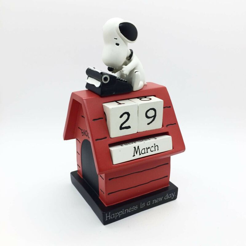 """Hallmark Peanuts Snoopy """"Happiness is a new day"""" Resin Perpetual Calendar"""