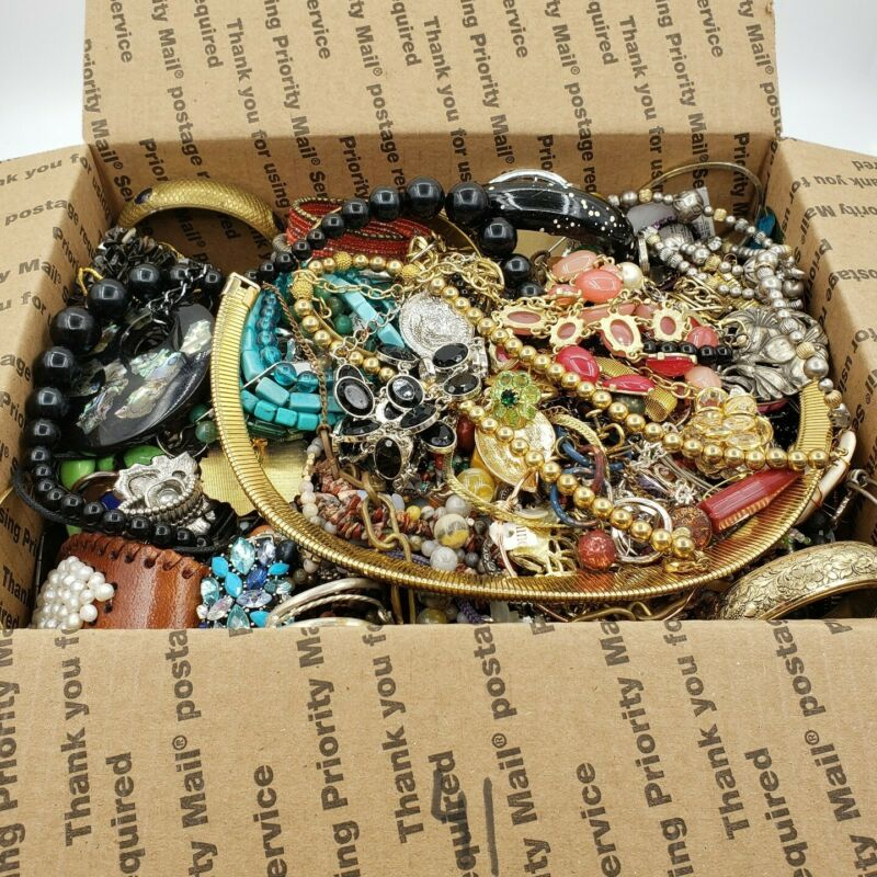 15 lbs Pounds Jewelry Lot Med Flat Rate Box Vtg to Modern Wear Craft Harvest 41