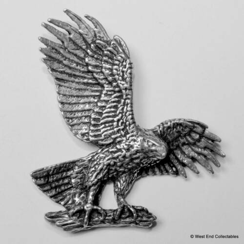 bird of prey Hawk on a Branch Pin Badge in Fine English Pewter Handmade