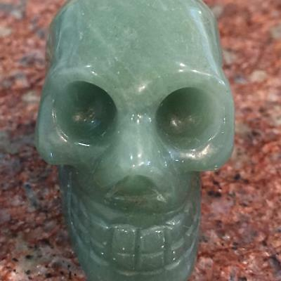 """2""""Natural Green Aventurine Agate Carved Crystal Skull Realistic Healing #sk206"""