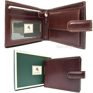 Trifold-Mens-Wallet-Real-Leather-Brown-New-in-Gift-Box-Quality-Visconti-MZ5