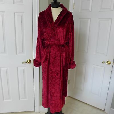 Velvet Burgundy Dressing Gown Long Robe w/Sash Tie Size XL...Elegant  - Red Velvet Robe
