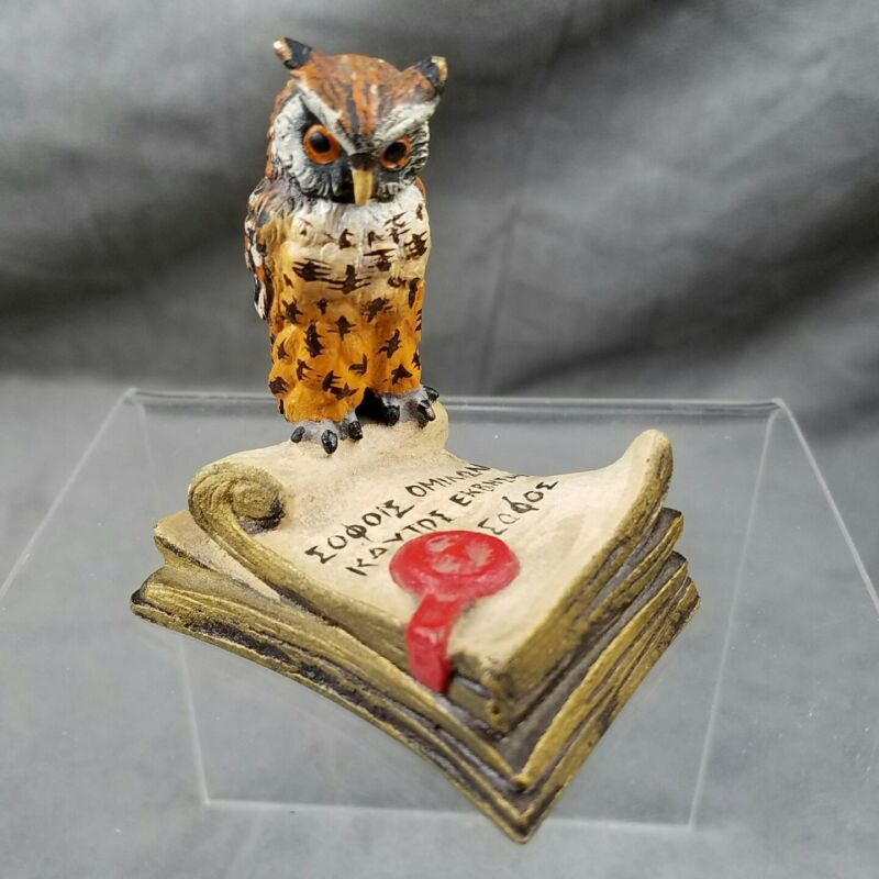Painted Bronze Owl On Book Made In Austria