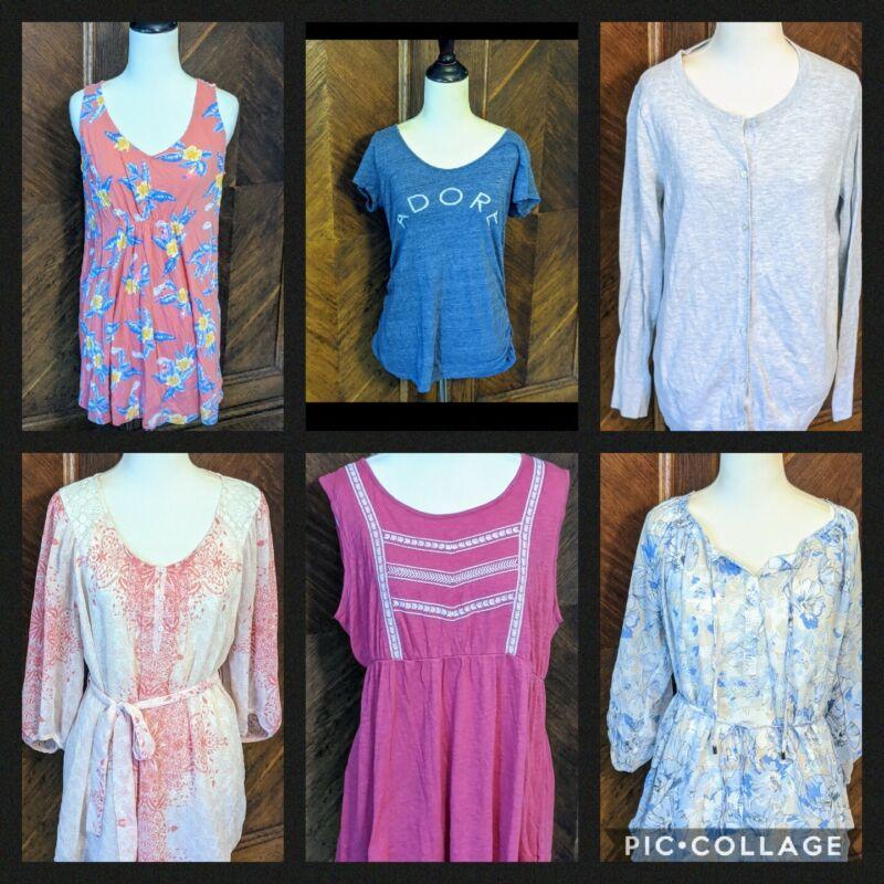 Lot of 6 Maternity Clothes Shirts Blouses Medium size M summer fall Motherhood