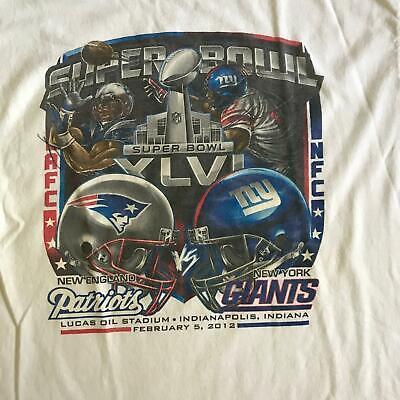2012 NFL Super Bowl XLVI T-Shirt XL New England Patriots vs New York Giants