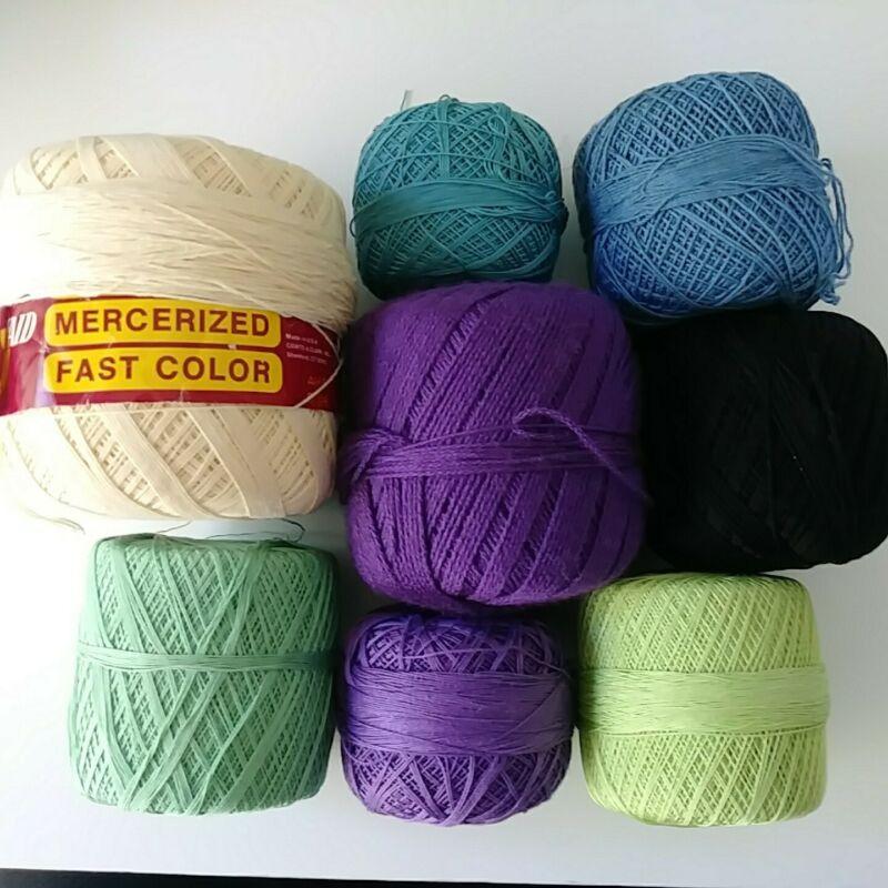 8 Balls Plain Crochet Thread-Green/Cream/Purple/Blue/Black Sizes 10/20/30