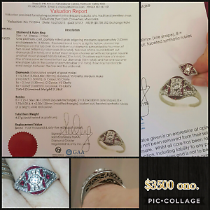White  gold vintage diamond and ruby art deco engagement  ring Boronia Heights Logan Area Preview