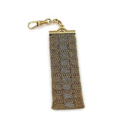Vintage Art Deco 18k Yellow & White Gold Long Mesh Chain Pocket Watch Fob