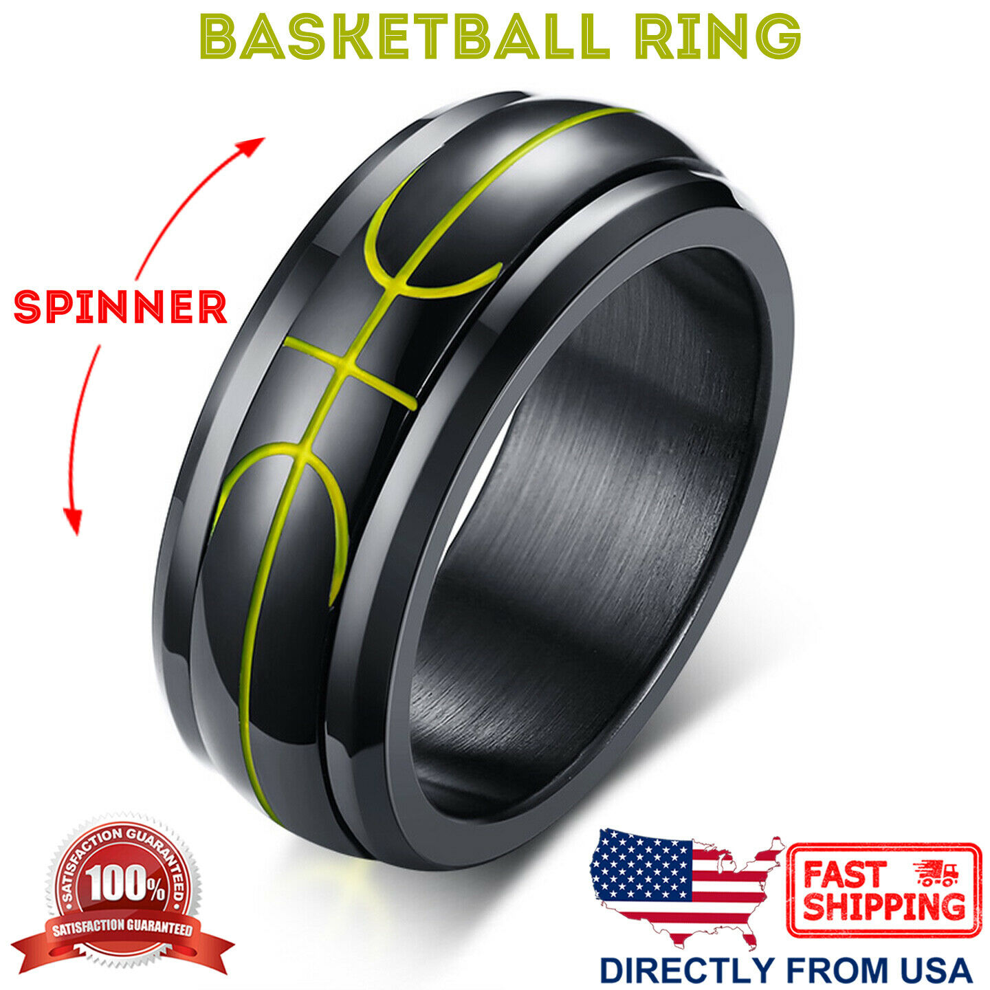 Men's Stainless Steel Basketball Design Anxiety Calming Spinner Ring Jewelry & Watches