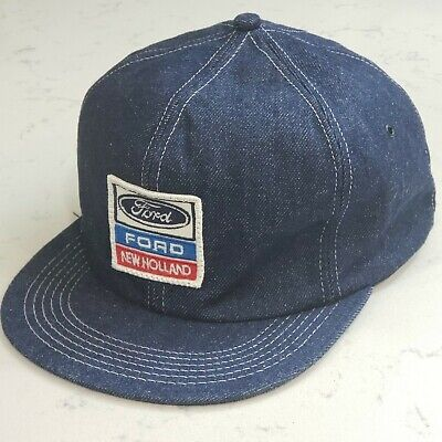 Vintage FORD Snapback Trucker Hat Denim Patch Cap K Products Made in the USA