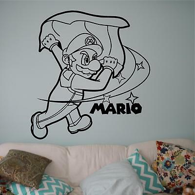Super Mario Brothers Dekorationen (Mario Cape Super Smash Brothers Decal, Vinyl decal, Games Decal for cars, walls)