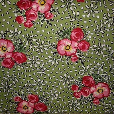 MERRY GO ROUND Green Floral 21723 15 A JANE Moda QUILT FABRIC 30/'s Reproduction