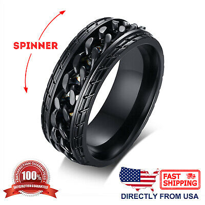 - Men's Black Stainless Steel Car Tire Design Anxiety Calming Spinner Ring