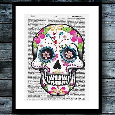 Sugar Skull Floral Modern Bohemian Wall Art Print Vintage Dictionary Poster ](Bohemian Wall Art)