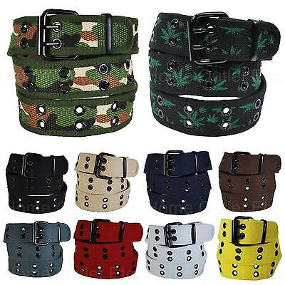 - Premium Double Row Grommet Fabric Belt 2 Hole Canvas Web Stud Punk Rock Goth Emo