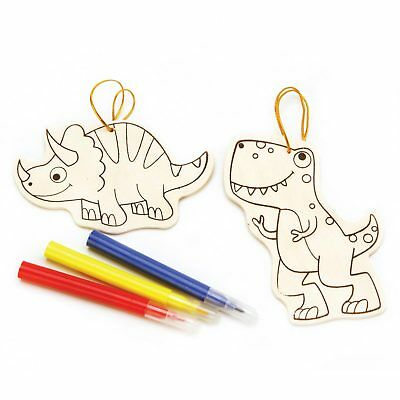 Darice Crafts for Kids Wood Ornament Kit Dinosaur Makes 2 (6-Pack) - Wood Crafts For Kids