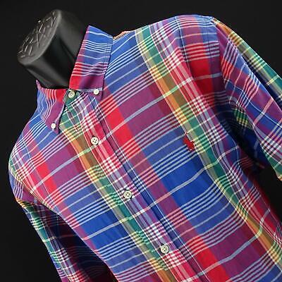 Mens Polo Ralph Lauren Custom Fit Oxford Big Plaids Golf Dress Shirt Size XL Mens Oxford Golf Shirt
