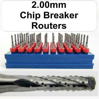 2.00mm Router Bits 50 Pcs. Carbide - Chip Breaker - Drill Point Tip 18 Shaft