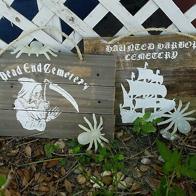 Wooden Halloween Sign-Aged Wood Halloween - Wooden Outdoor Halloween Decorations