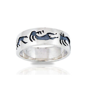 Solid-925-Sterling-Silver-kokopelli-Band-Ring-Size-6-7-8-9-10-NEW