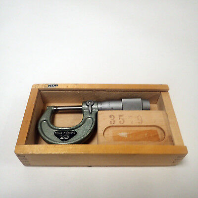 Vintage Vis Made In Poland Micrometer 0-1 .0001 Graduation With Wooden Case