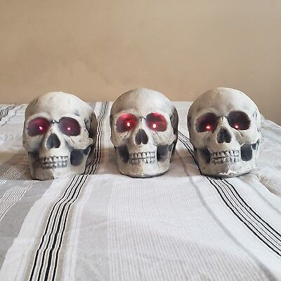 Halloween Foam Skull Heads Set of 3 Red LED Light Up Eyes Party Decoration Decor - Foam Skull Heads