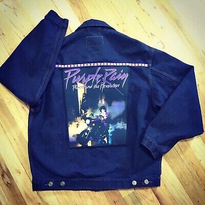 Vintage Denim Jacket With Purple Studs, Purple Rain Prince Back Patch