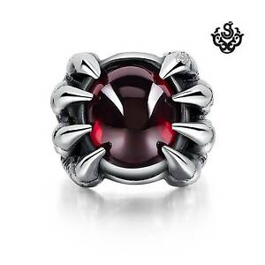 Silver-claws-ring-red-cz-solid-stainless-steel-band