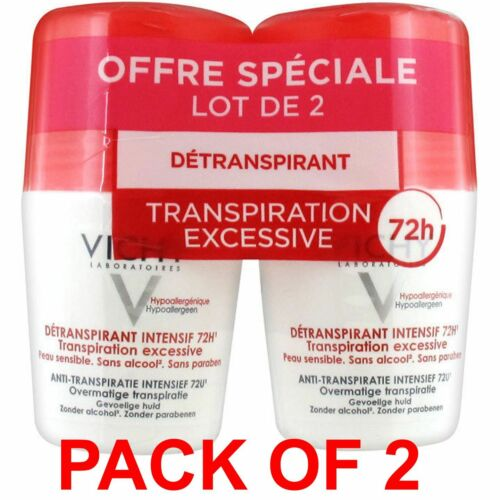 VICHY INTENSIVE ROLL ON DEODORANT 72H Excessive Perspiration 2X50ml US