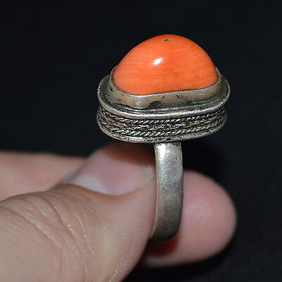 Faberge Design Imperial Russian 19th !!! Antique BIG CORAL RING SILVER 84 Salmon for sale  Shipping to United States