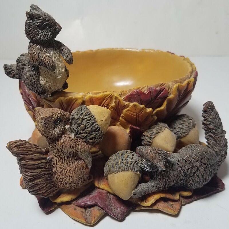 Squirrel Statue Figurine Bowl Painted Ceramic Animal Garden Home Art Collectible