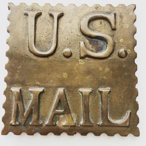 Vintage Brass U.S Mail Post Office Sign