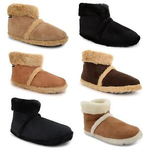 New-Mens-Coolers-Dunlop-Microsuede-Snugg-Furry-Slippers-Ankle-Boots-Size-UK-7-12