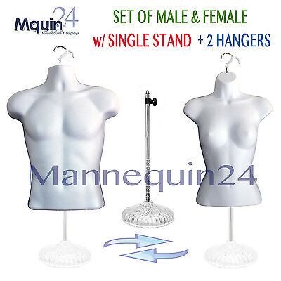 2 Mannequins -male Female Torsos - White Dress Form Set W 2 Hangers 1 Stand