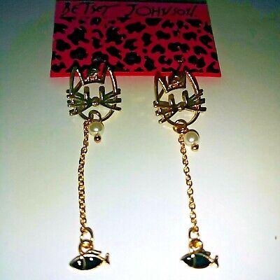 Betsey Johnson Faux Pearl Kitty Cat Long Dangle Earrings free gift Betsey Johnson Faux Earrings