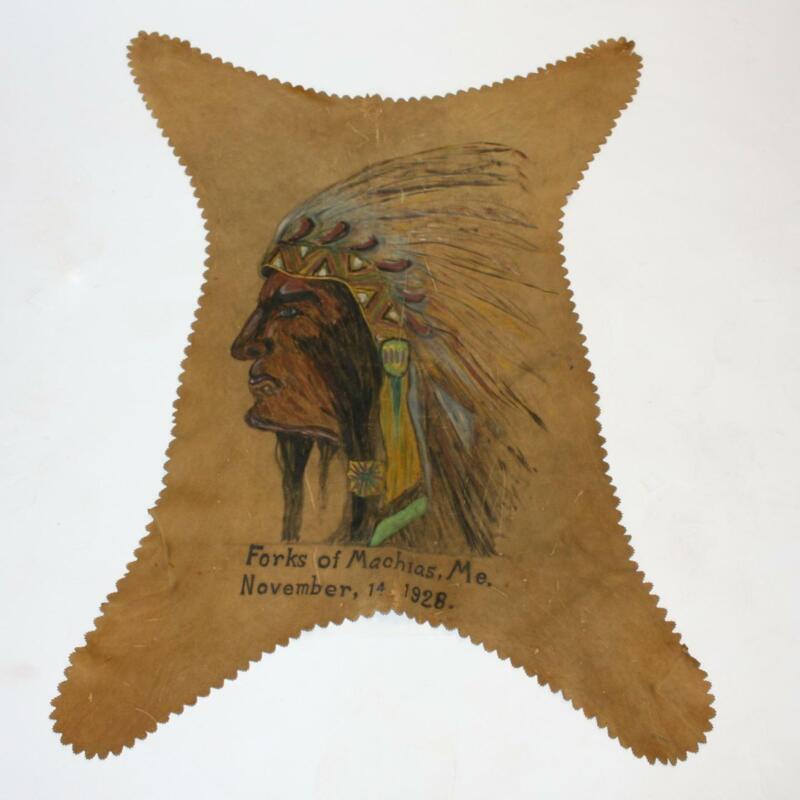 1928 Vintage Native American Indian Chief Skin Hide Painting Forks of Machias ME